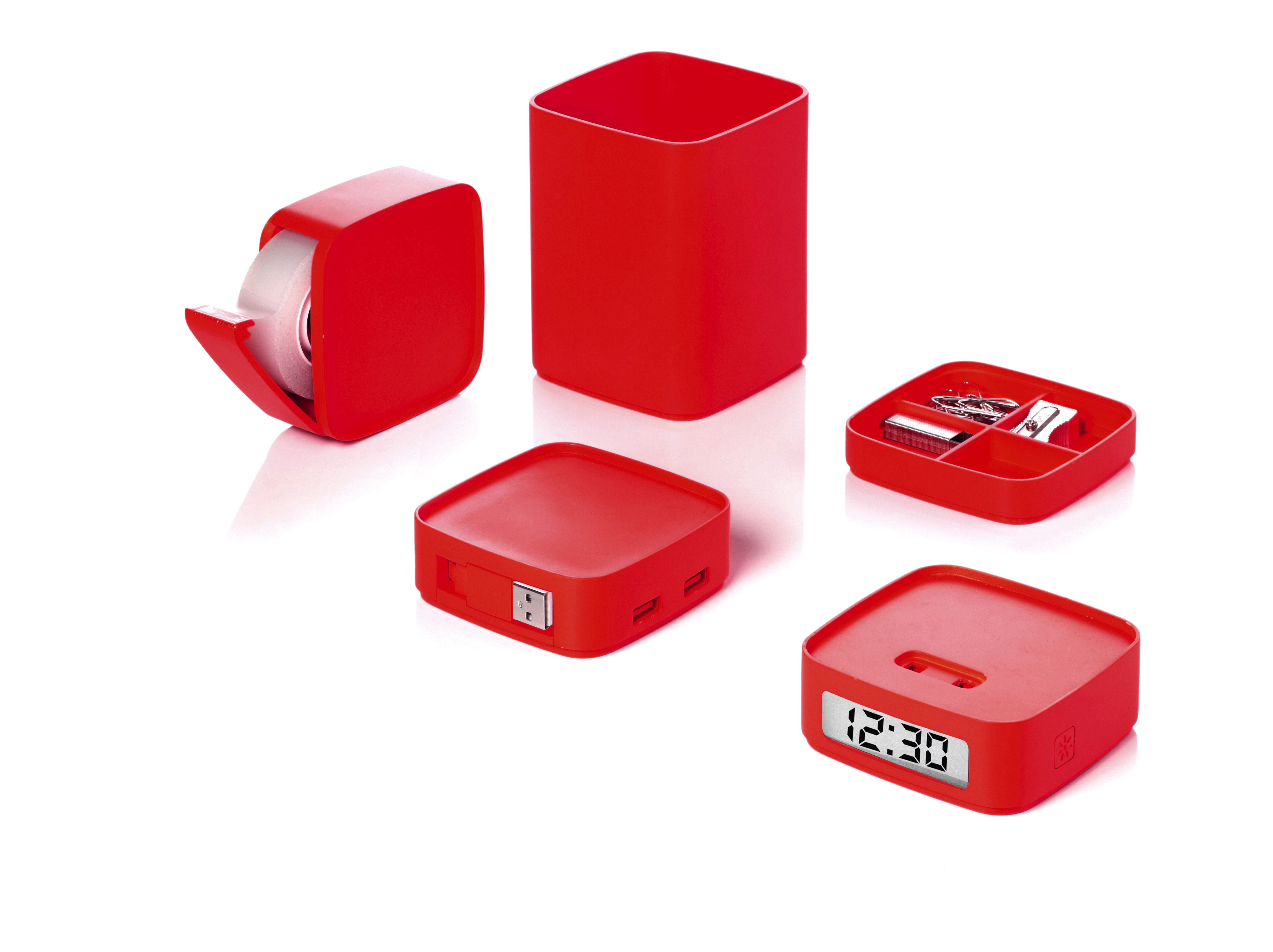 mini totem office accessory set 5 in 1 red by lexon. Black Bedroom Furniture Sets. Home Design Ideas