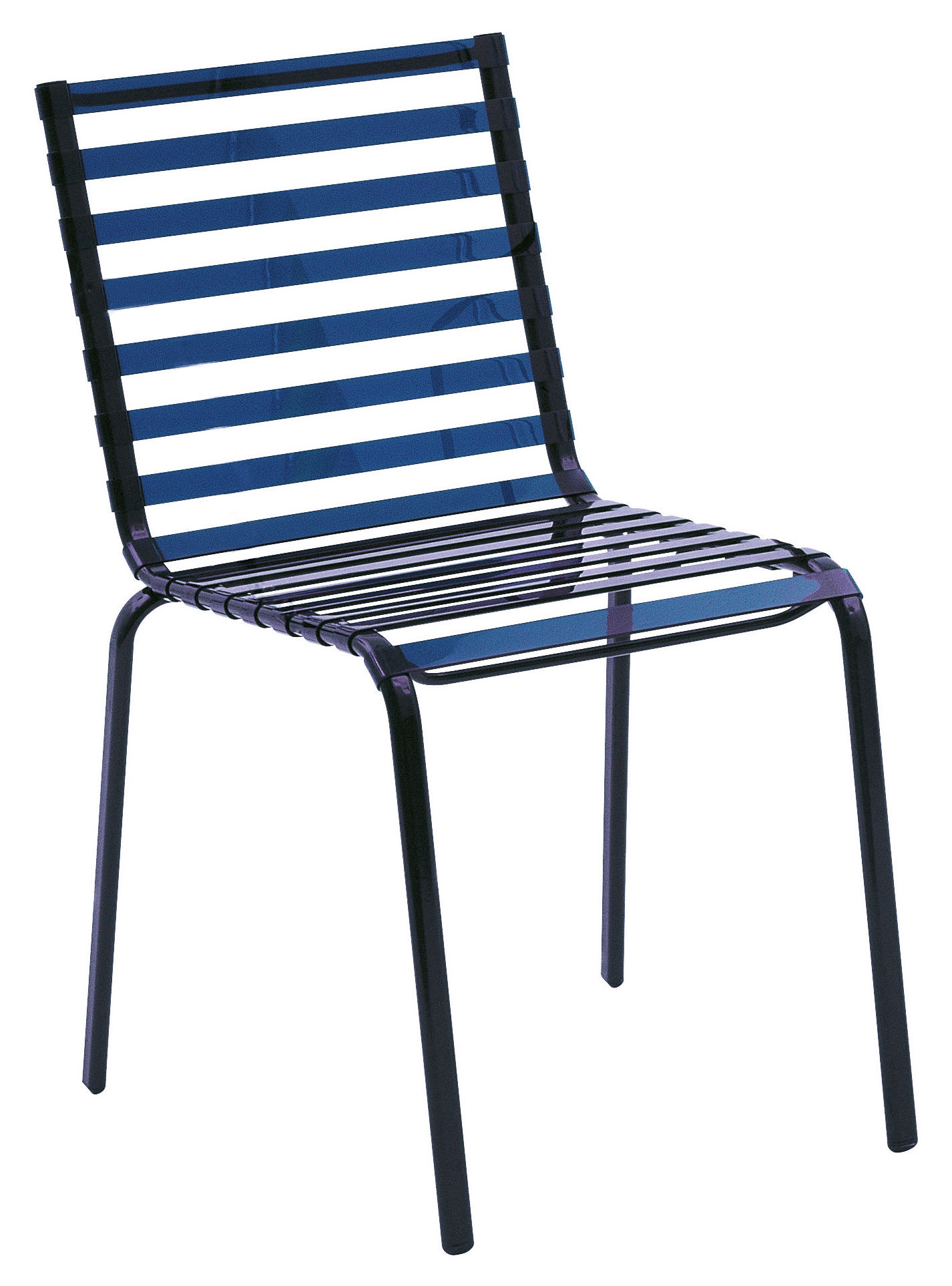 Striped Stacking Chair Plastic Blue By Magis