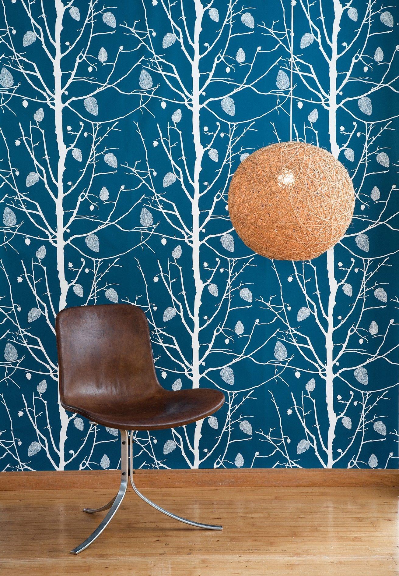 Family tree wallpaper 1 panel petrol white by ferm living - Family tree desktop wallpaper ...