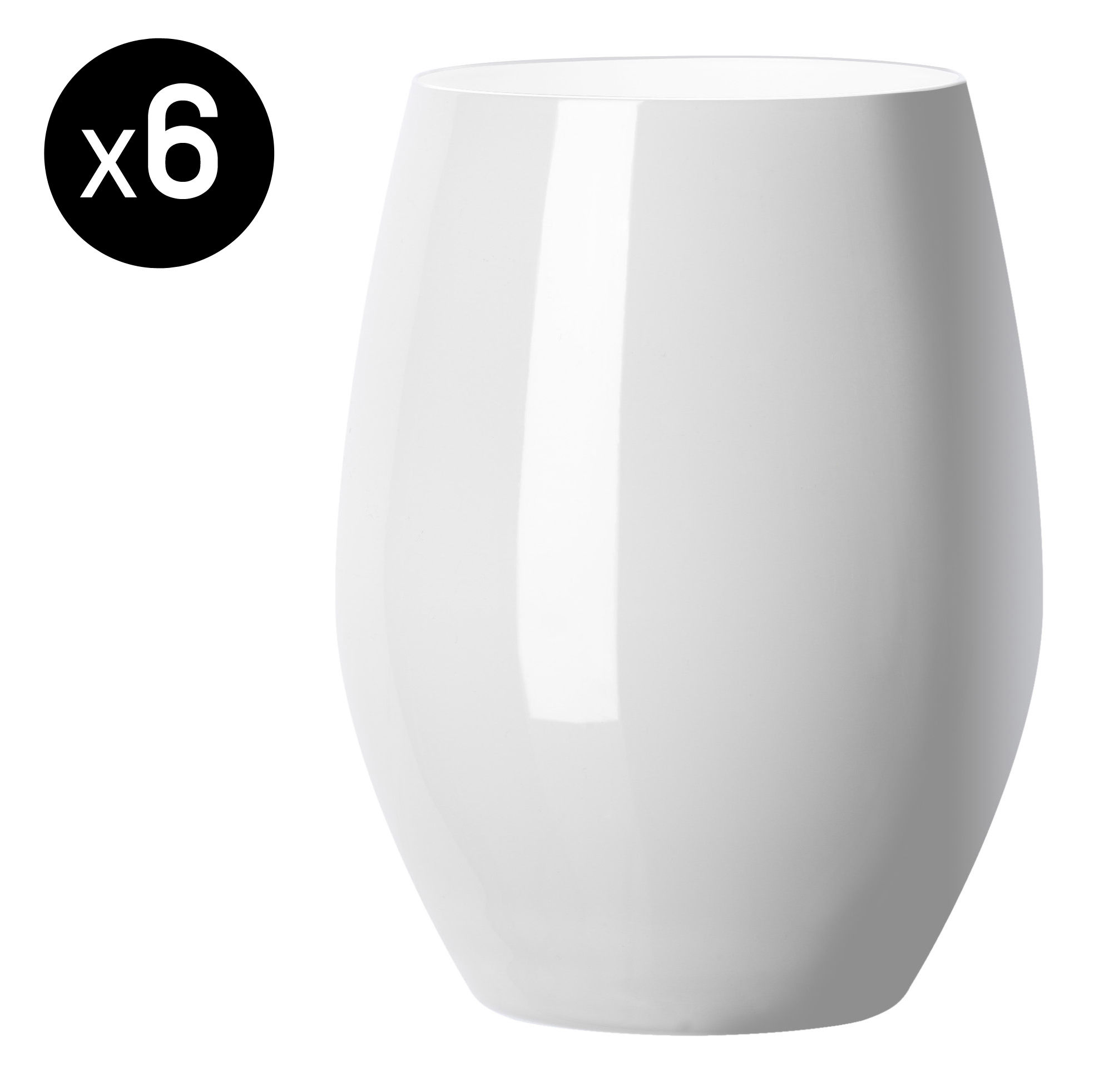 verre vertical party 42 cl lot de 6 blanc opaque. Black Bedroom Furniture Sets. Home Design Ideas