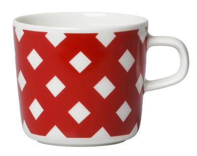 Arts de la table - Tasses et mugs - Tasse à café Okko - Marimekko - Okko / Blanc & rouge - Porcelaine émaillée