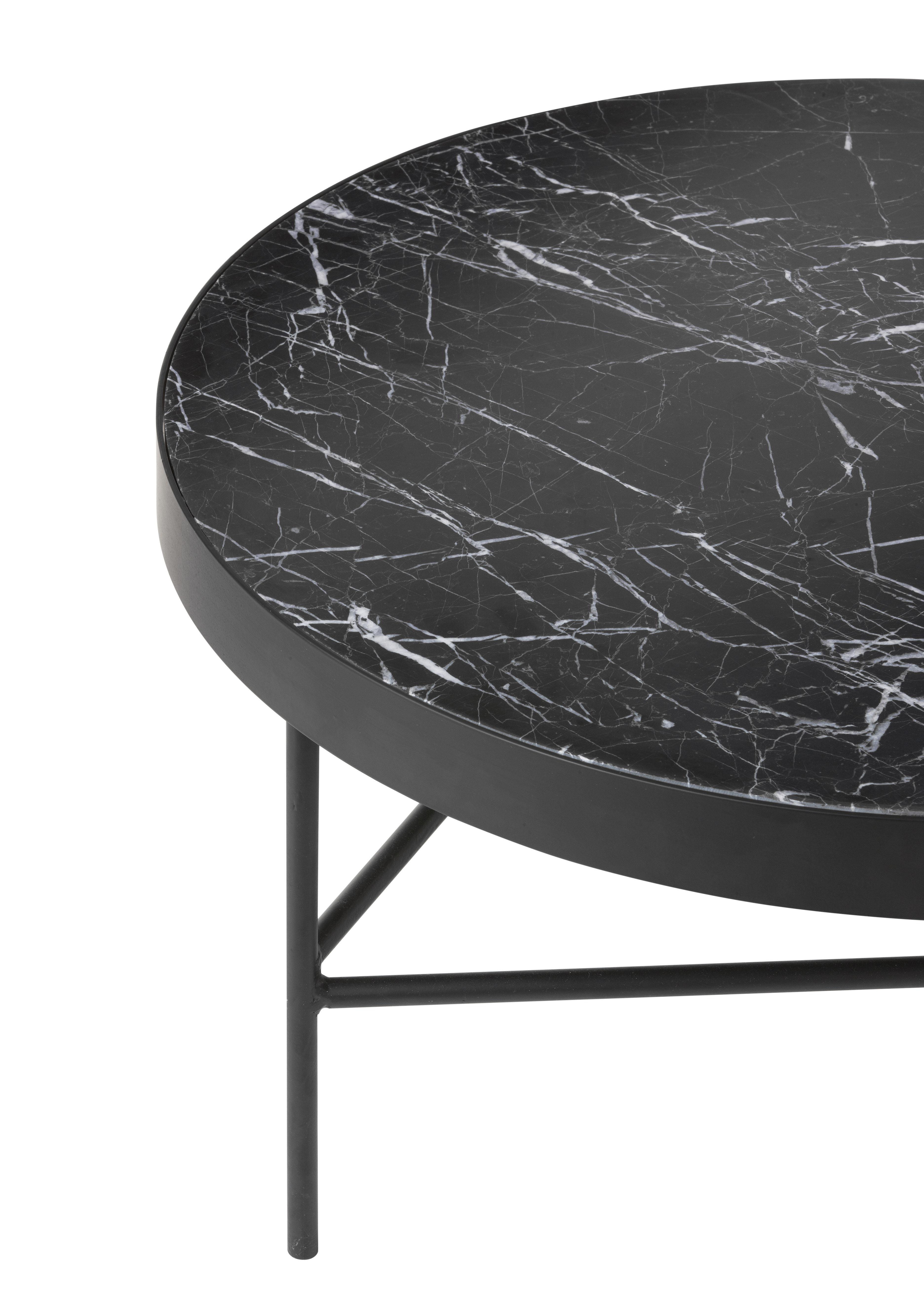 Table basse marble large 70 5 x h 35 cm marbre noir for Table 70 cm de large