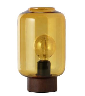 Lampe de table Column / H 27 cm - Frandsen marron transparent,bois foncé en verre
