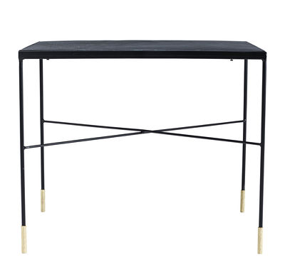 Tavolino basso OX / 60 x 60 x H 50 cm - House Doctor - Nero / Ottone - Metallo
