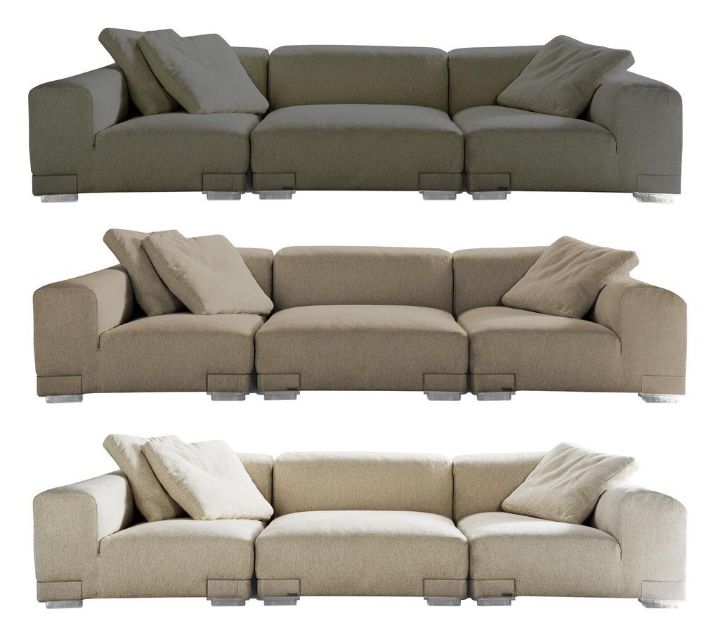 Scopri divano destro plastics duo composizione 3 grigio for Divano tortora