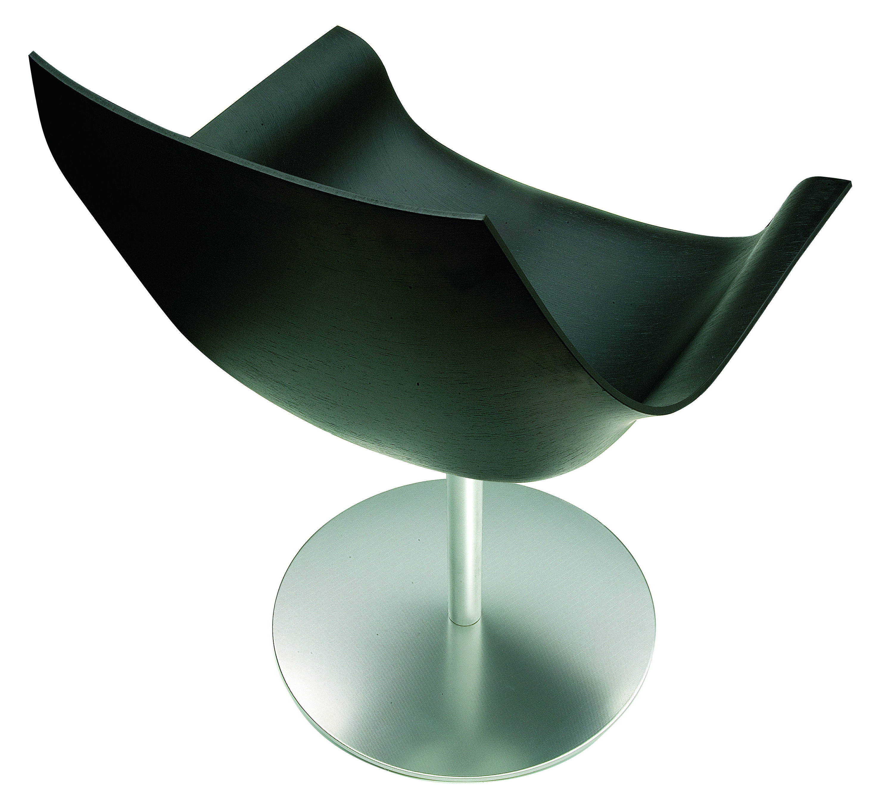 Cox Swivel Armchair Wood Shell Lacquered Black By Lapalma