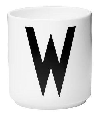 Mug Arne Jacobsen / Porcelaine - Lettre W - Design Letters blanc en céramique