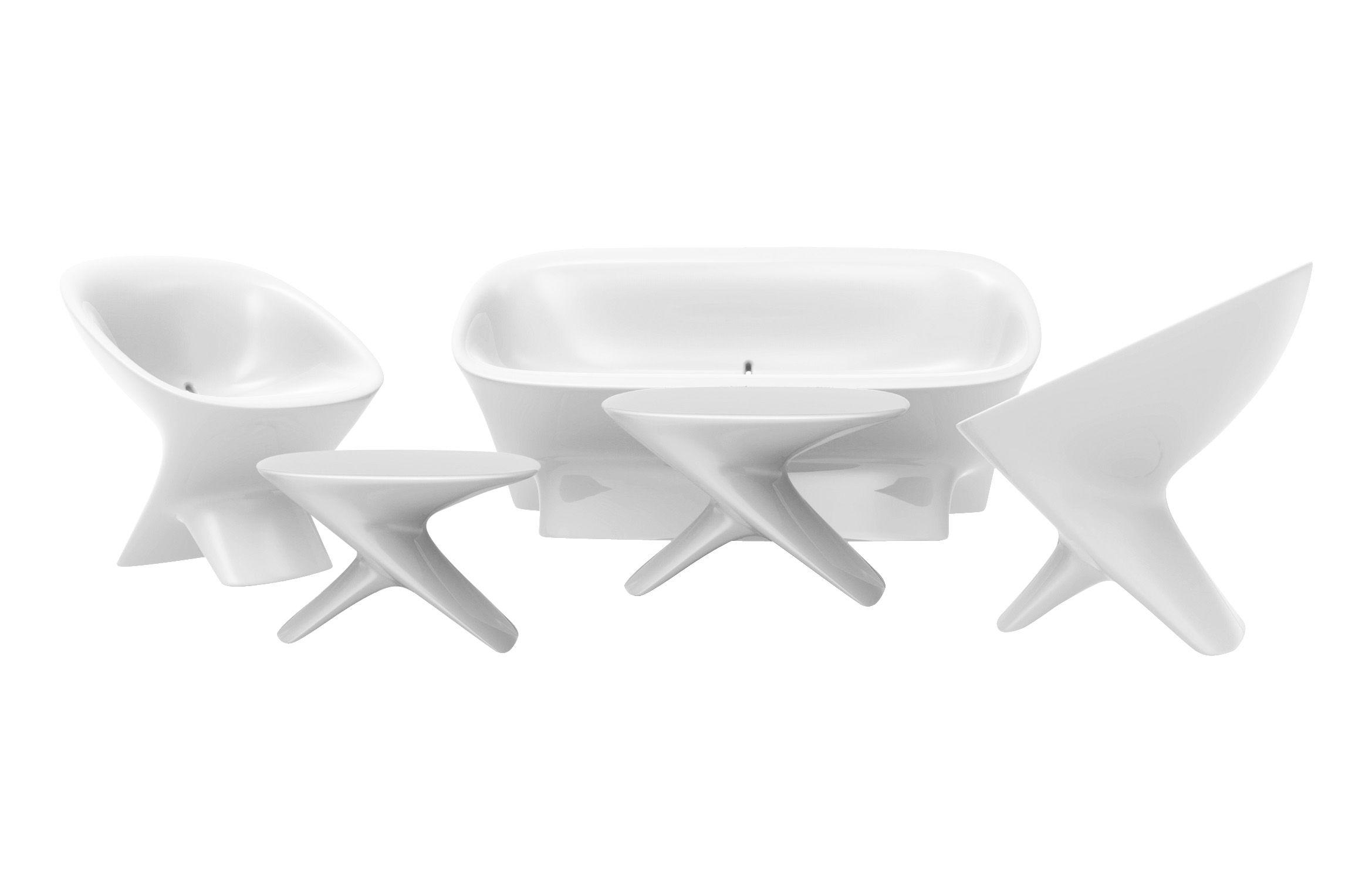 Canapé Ublo offre spéciale : 1 canapé + 2 fauteuils + 1 table Blanc ...