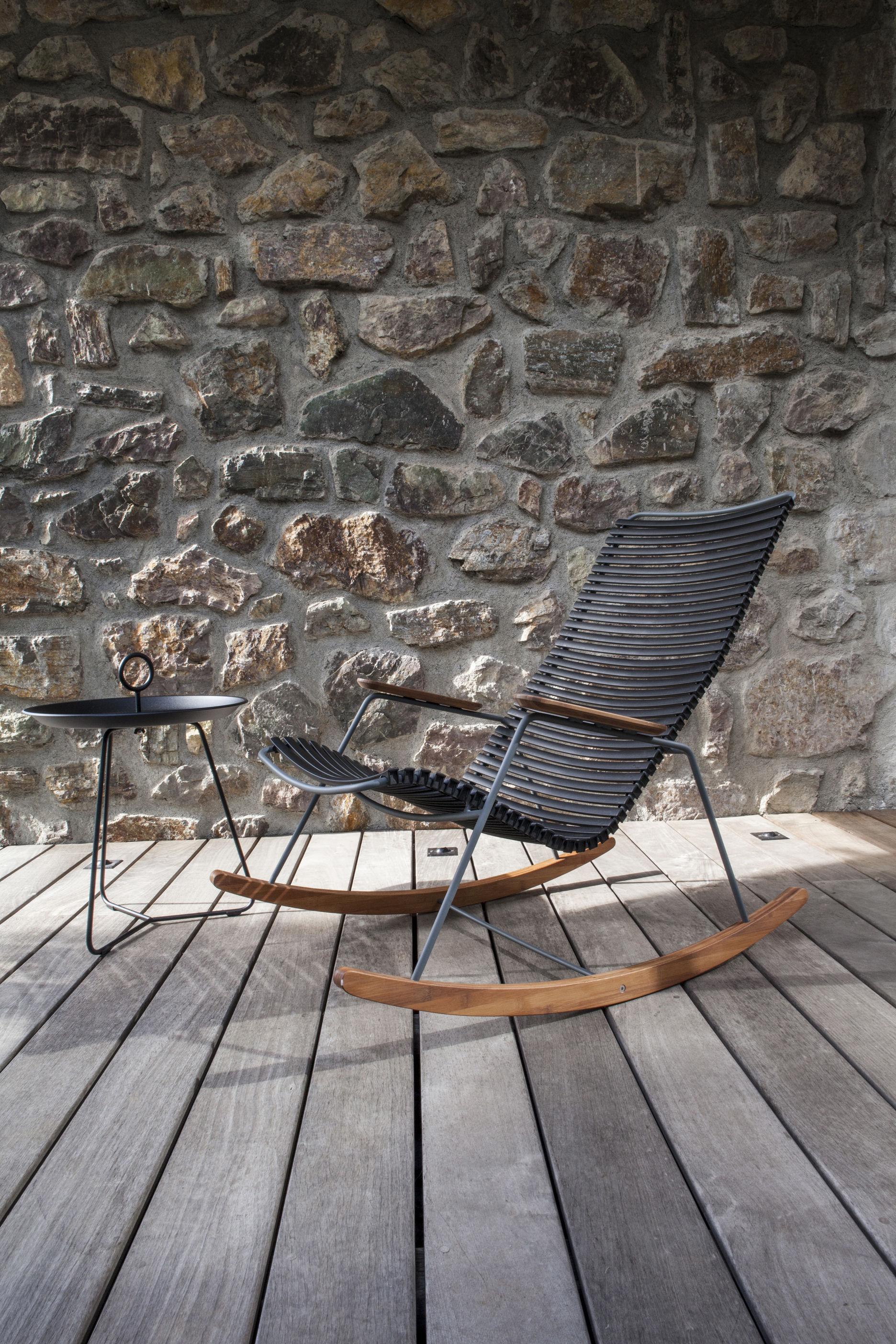 Rocking chair click plastique bambou bleu p trole for Bambou plastique