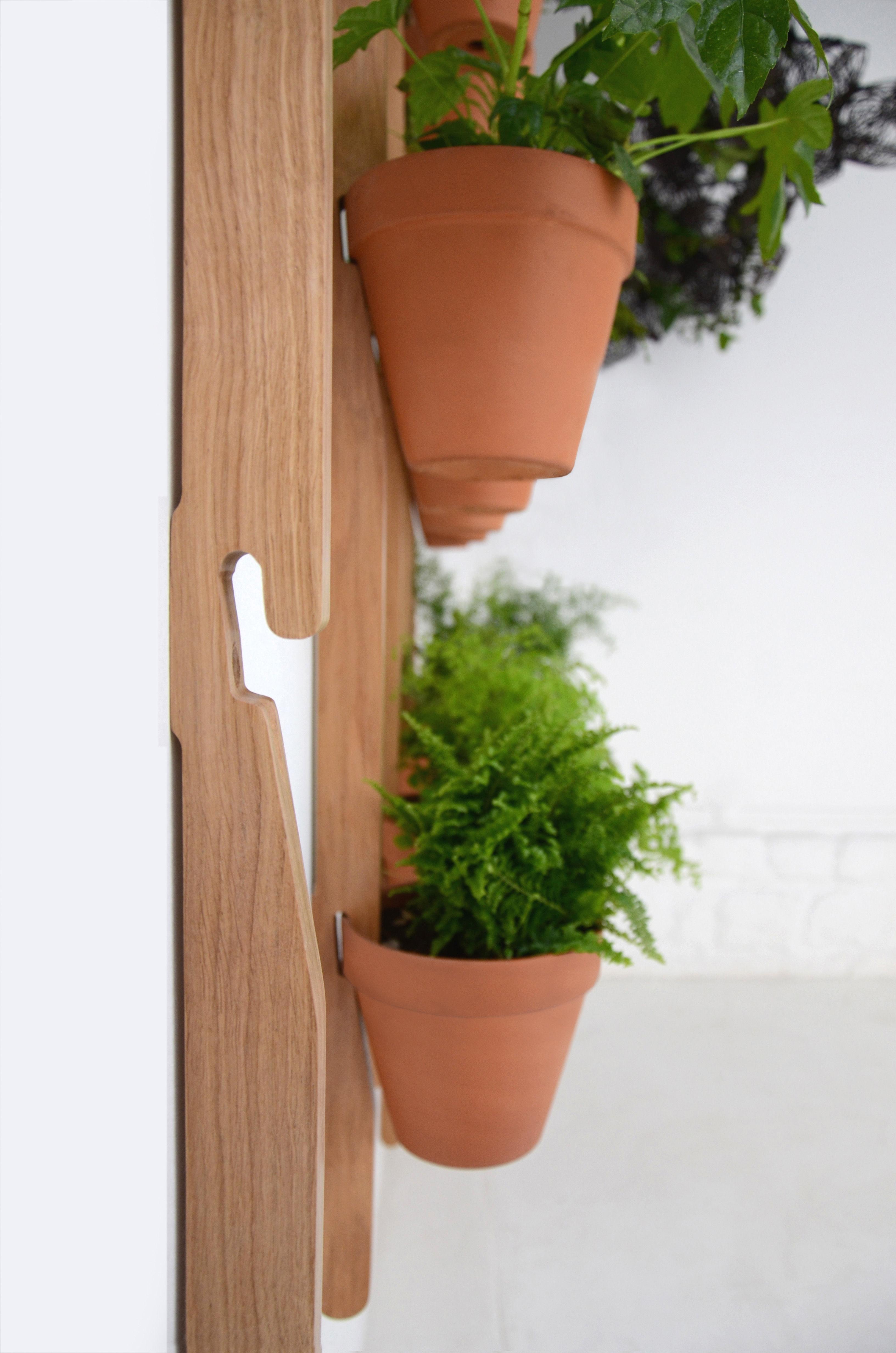 support mural xpot pour 2 pots de fleurs ou tag res h 100 cm ch ne naturel compagnie. Black Bedroom Furniture Sets. Home Design Ideas