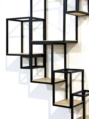 biblioth que jointed murale 152 x 115 cm noir bois serax. Black Bedroom Furniture Sets. Home Design Ideas