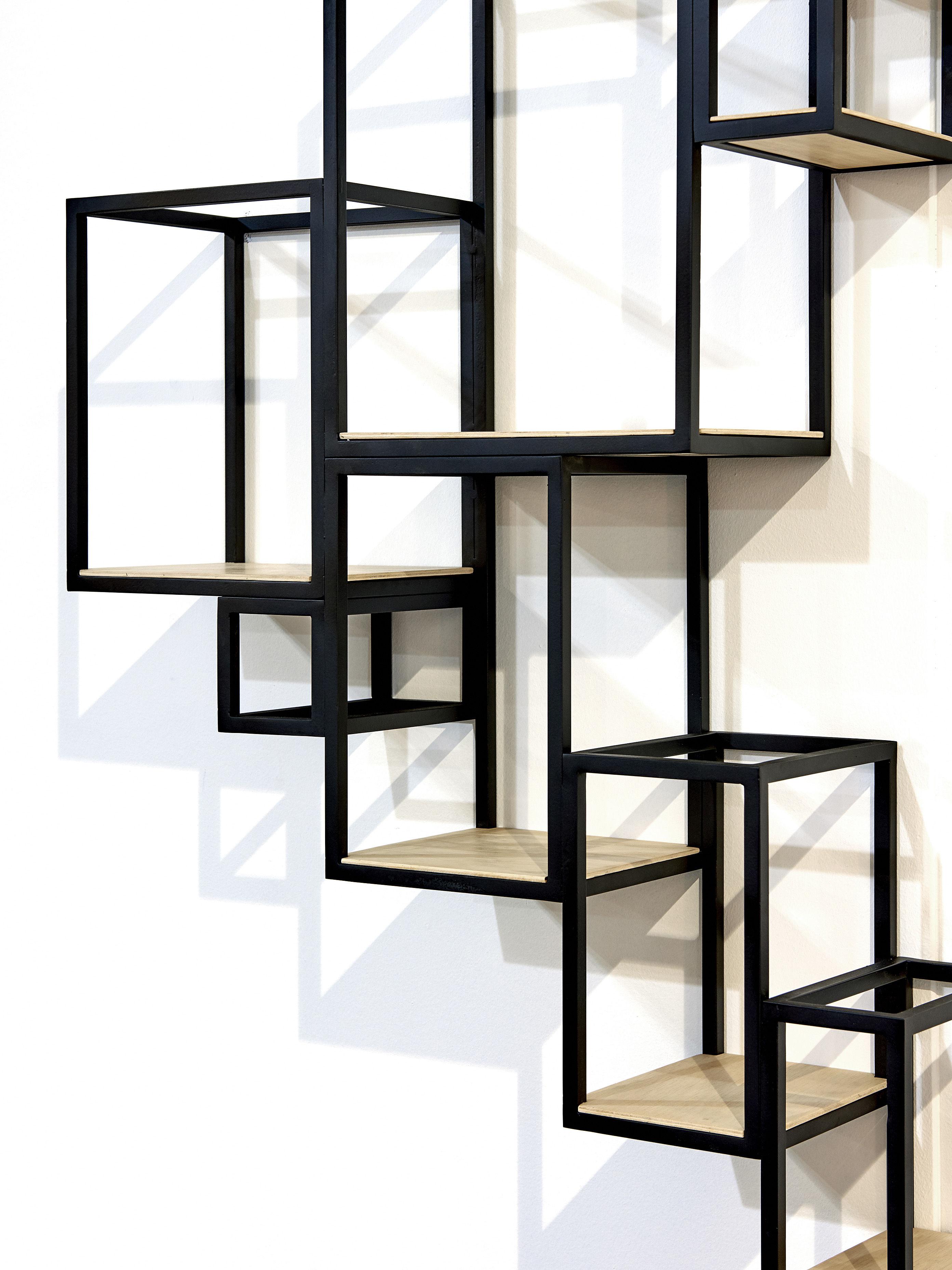 scopri libreria jointed a parete 152 x 115 cm nero. Black Bedroom Furniture Sets. Home Design Ideas