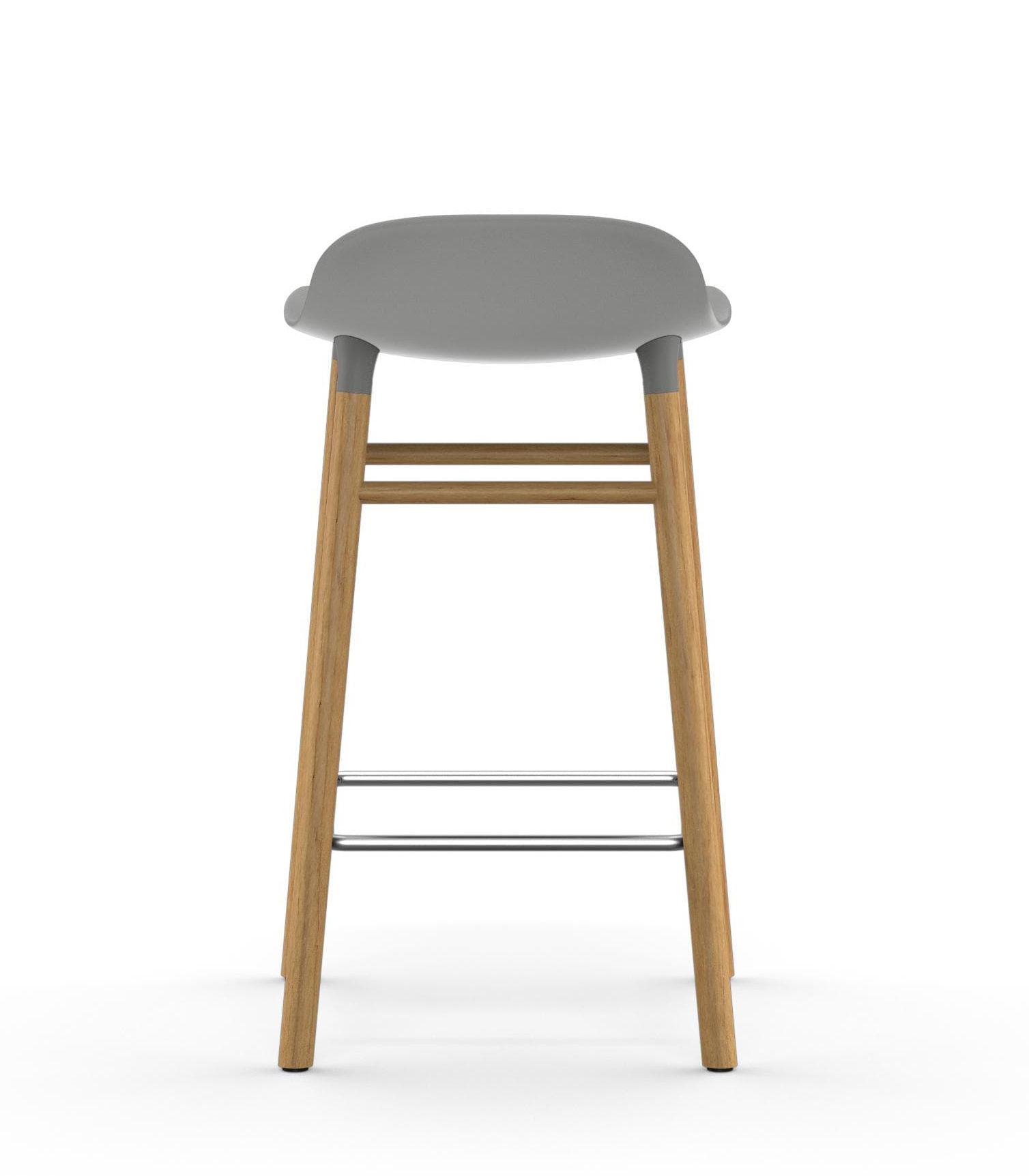 Form Bar Stool H 65 Cm Oak Leg Grey By Normann