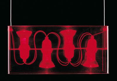 Foto Sospensione Duplex di Fontana Arte - Rosso - Materiale plastico