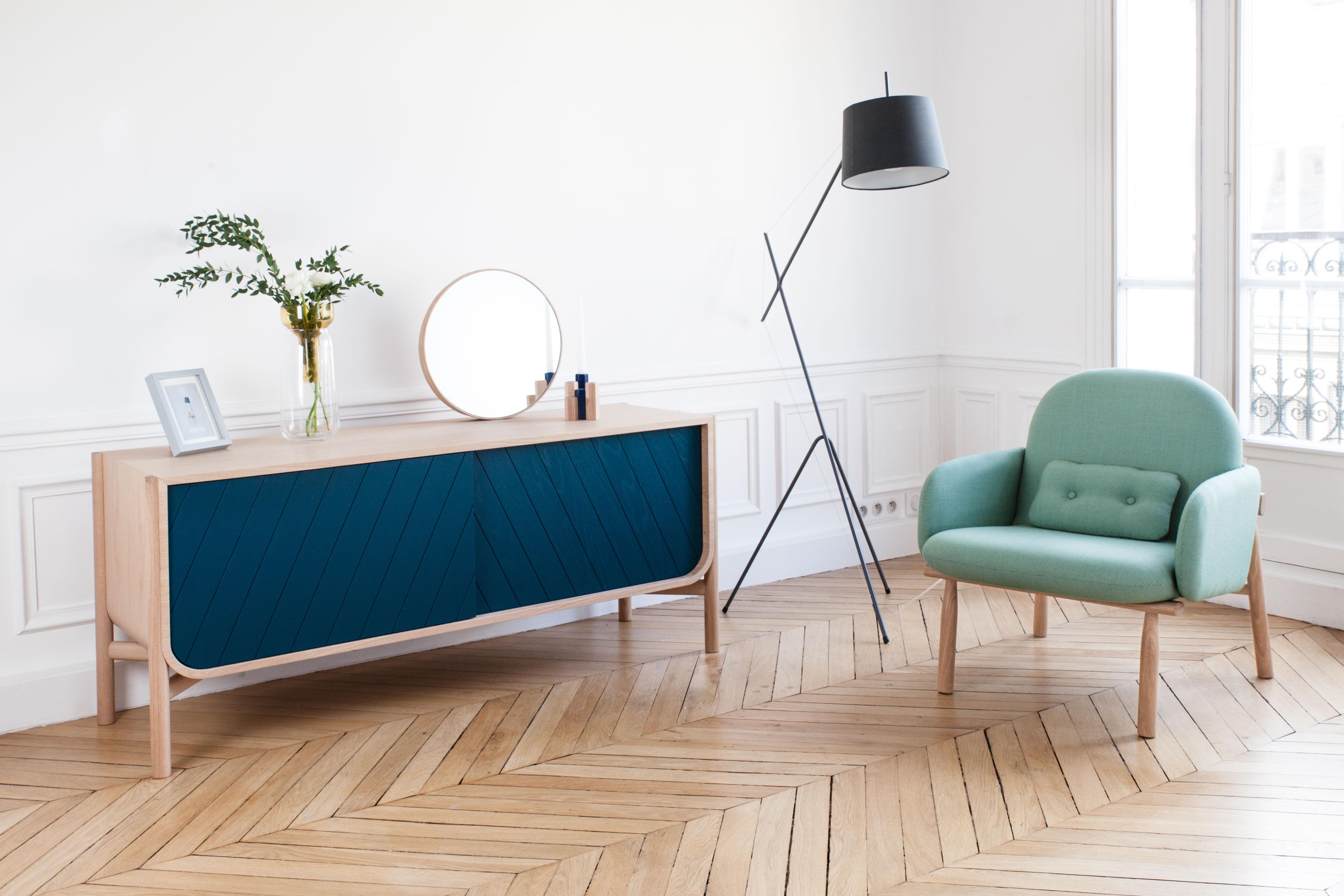 buffet marius meuble tv l 185 x h 65 cm bleu p trole ch ne naturel hart made in design. Black Bedroom Furniture Sets. Home Design Ideas