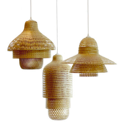Suspension hanoi 60 x h 41 cm bambou pop corn - Suspension luminaire bambou ...
