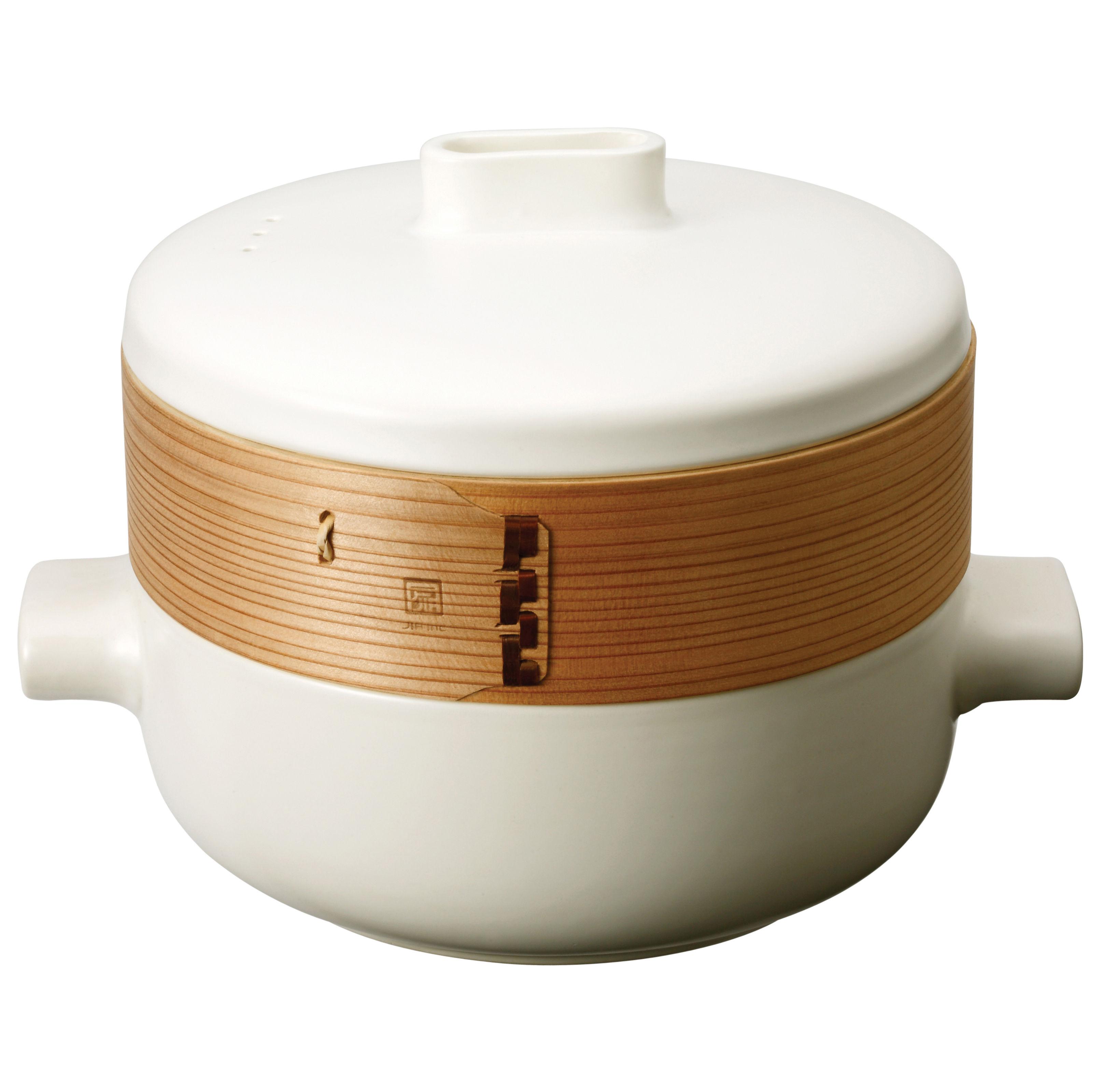 scopri cuiseur vapeur steamer set set pentola cesta bianco e legno di jia made in design. Black Bedroom Furniture Sets. Home Design Ideas