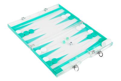 Déco - Pour les enfants - Coffret de voyage Backgammon / 41 x 26 cm - Sunnylife - Blanc & bleu - Acier, Acrylique