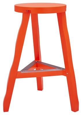Tabouret haut Offcut Bois H 65 cm Tom Dixon orange fluo en bois