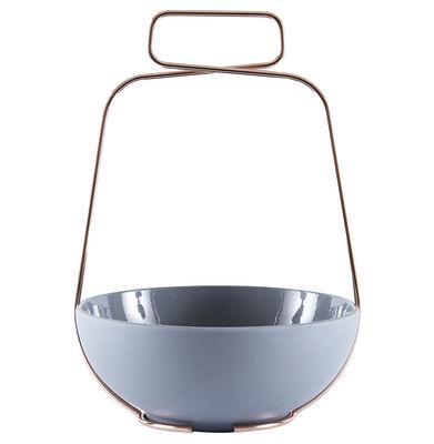 Arts de la table - Plats - Coupe Muselet / Ø 22,5 cm - Poignée cuivre - Incipit - Gris souris - Céramique, Cuivre