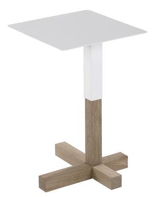 Foto Tavolo d'appoggio Quad / Legno & metallo - 36 x 36 cm - Universo Positivo - Bianco,Rovere naturale - Metallo Tavolino d'appoggio