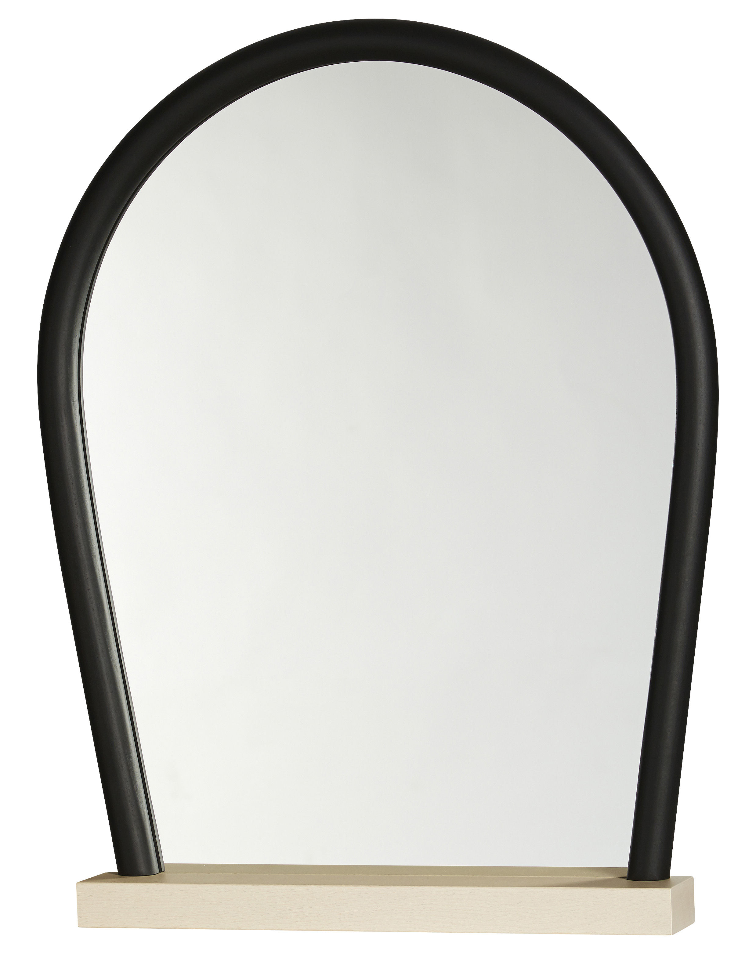 bent wood mirror natural wood base black by hay