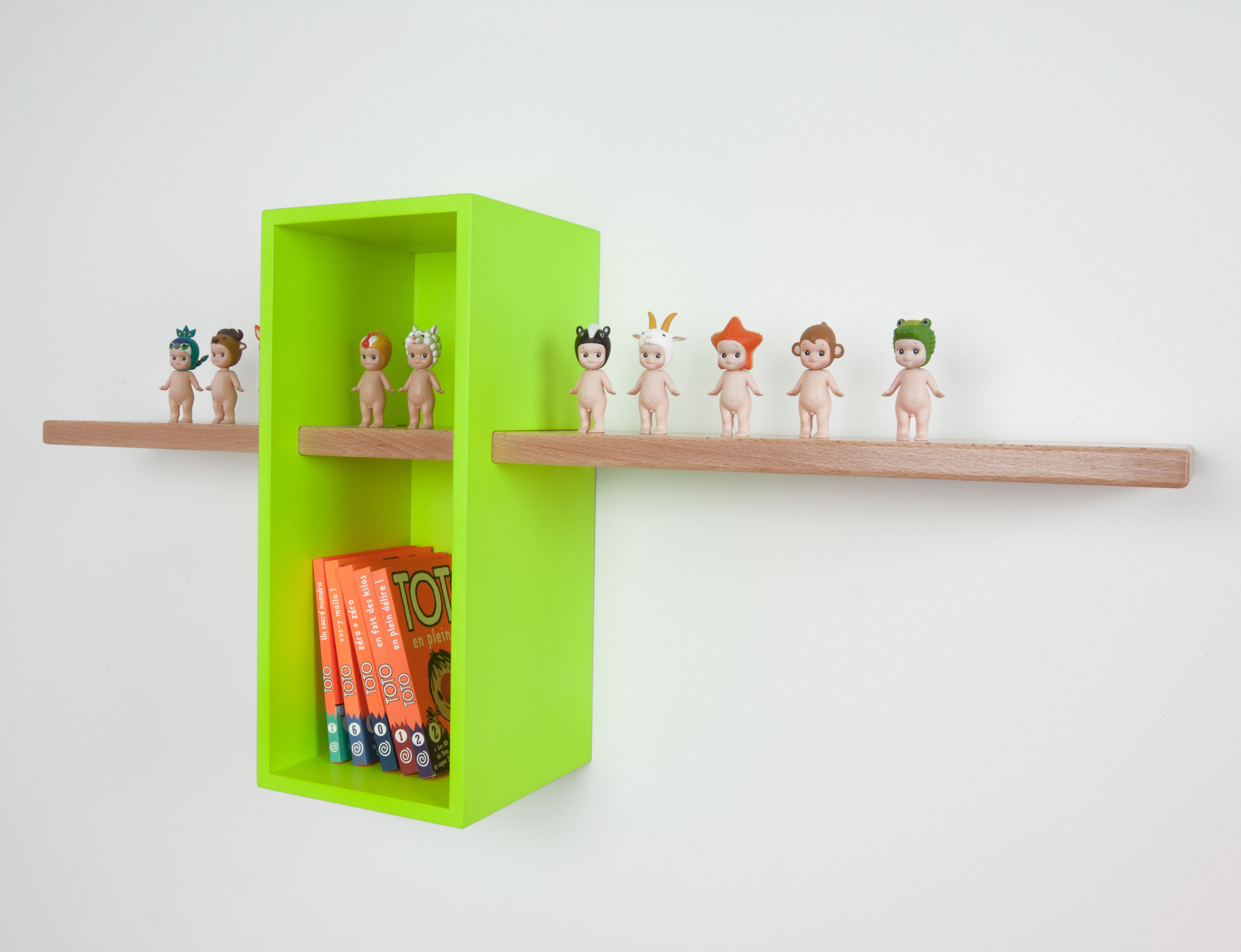 Max shelf simple exclusive colour green yellow - Exclusive decoration of book shelf ...