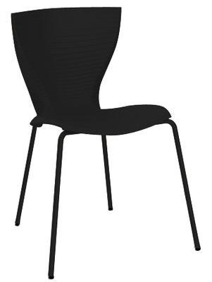 Chaise empilable Gloria / Plastique & pieds métal - Slide noir en matière plastique
