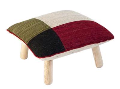 Pouf Mélange Colour 1 H 38 cm Nanimarquina blanc,rouge,noir,vert en tissu
