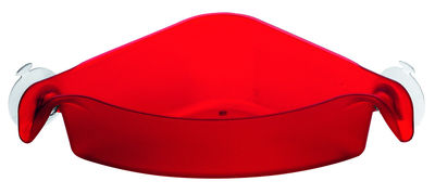 Interni - Bagno  - Vaschetta portaoggetti Boks - D'angolo - Con ventosa di Koziol - Rosso trasparente - Materiale plastico