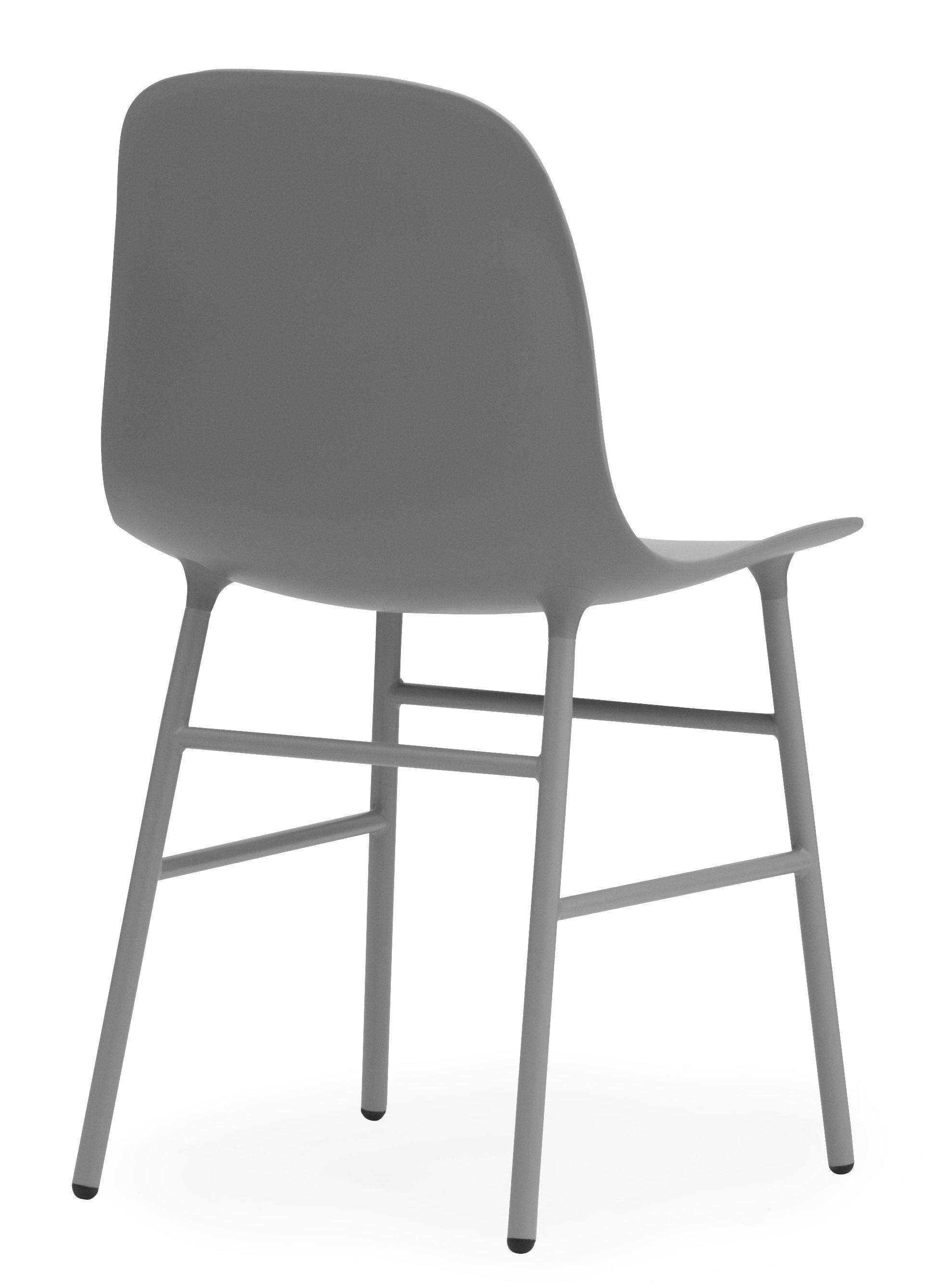 Chaise form pied m tal gris normann copenhagen - Chaise pied metal ...