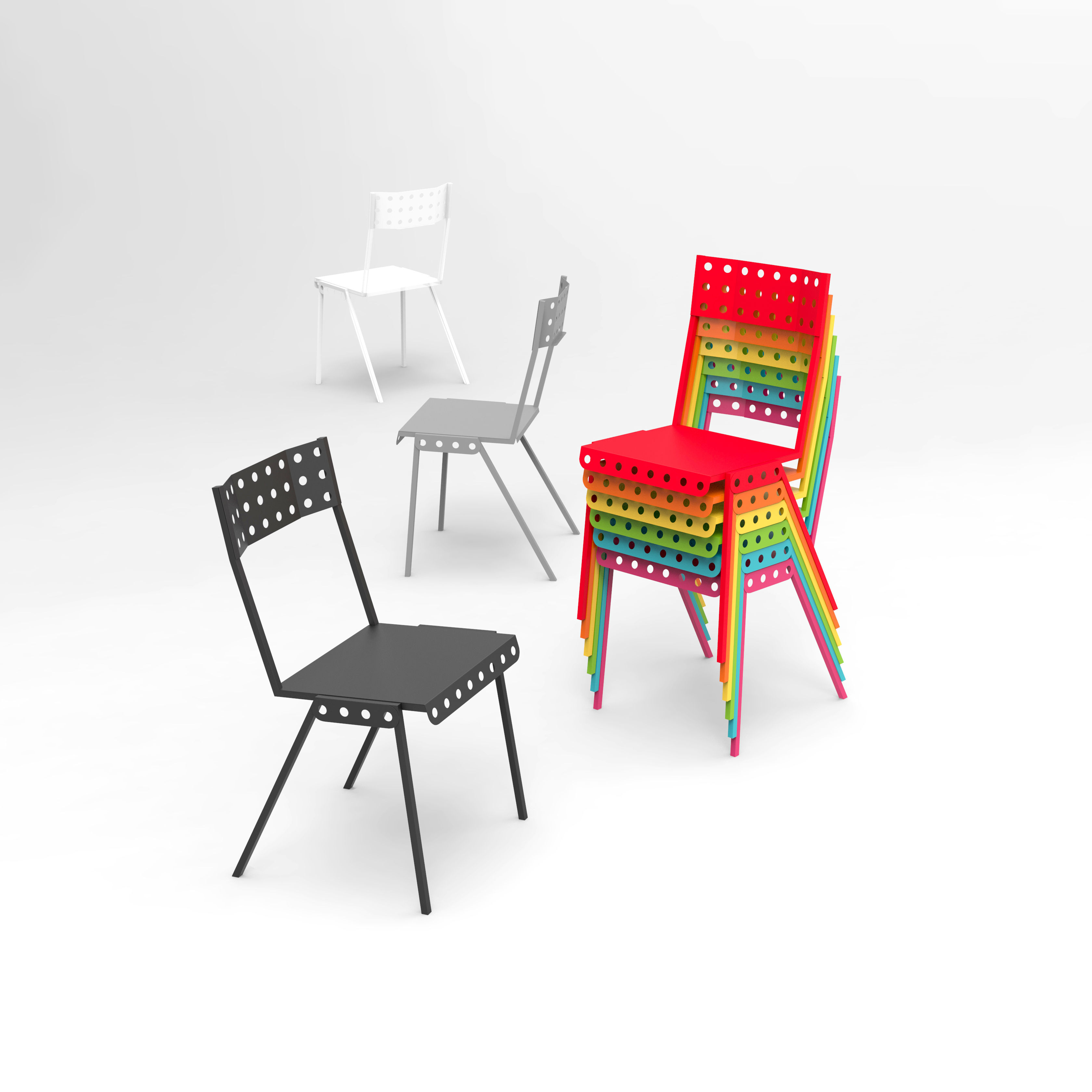 chaise empilable bistrot m tal noir meccano home. Black Bedroom Furniture Sets. Home Design Ideas
