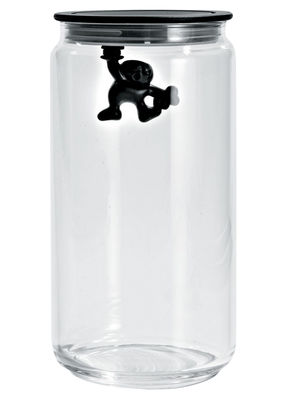 Tableware - Boxes and jars - Gianni a little man holding on tight Airtight jar - 140 cl by A di Alessi - Black / 140 cl - Glass, Thermoplastic resin