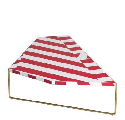 Tavolino Zagazig - / 113 x 74 cm x H 27 cm di Driade - Bianco,Rosso,Oro - Metallo