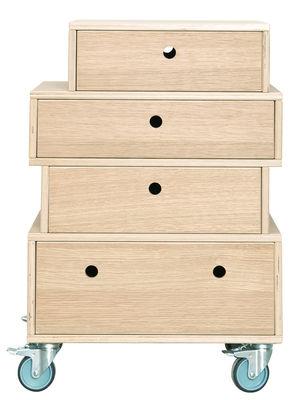 Meuble de rangement à roulettes - 4 tiroirs - House Doctor chêne clair en bois