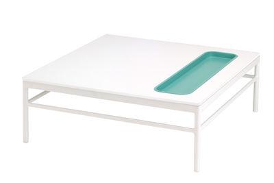 Mobilier - Tables basses - Table basse Rivage / 85 x 85 cm - Vide-poche intégré - Vlaemynck - Blanc / Vide-poche bleu - Aluminium laqué