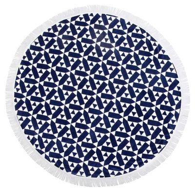 Drap de bain Castillo / Ø 150 cm - Coton éponge - Sunnylife blanc,bleu en tissu