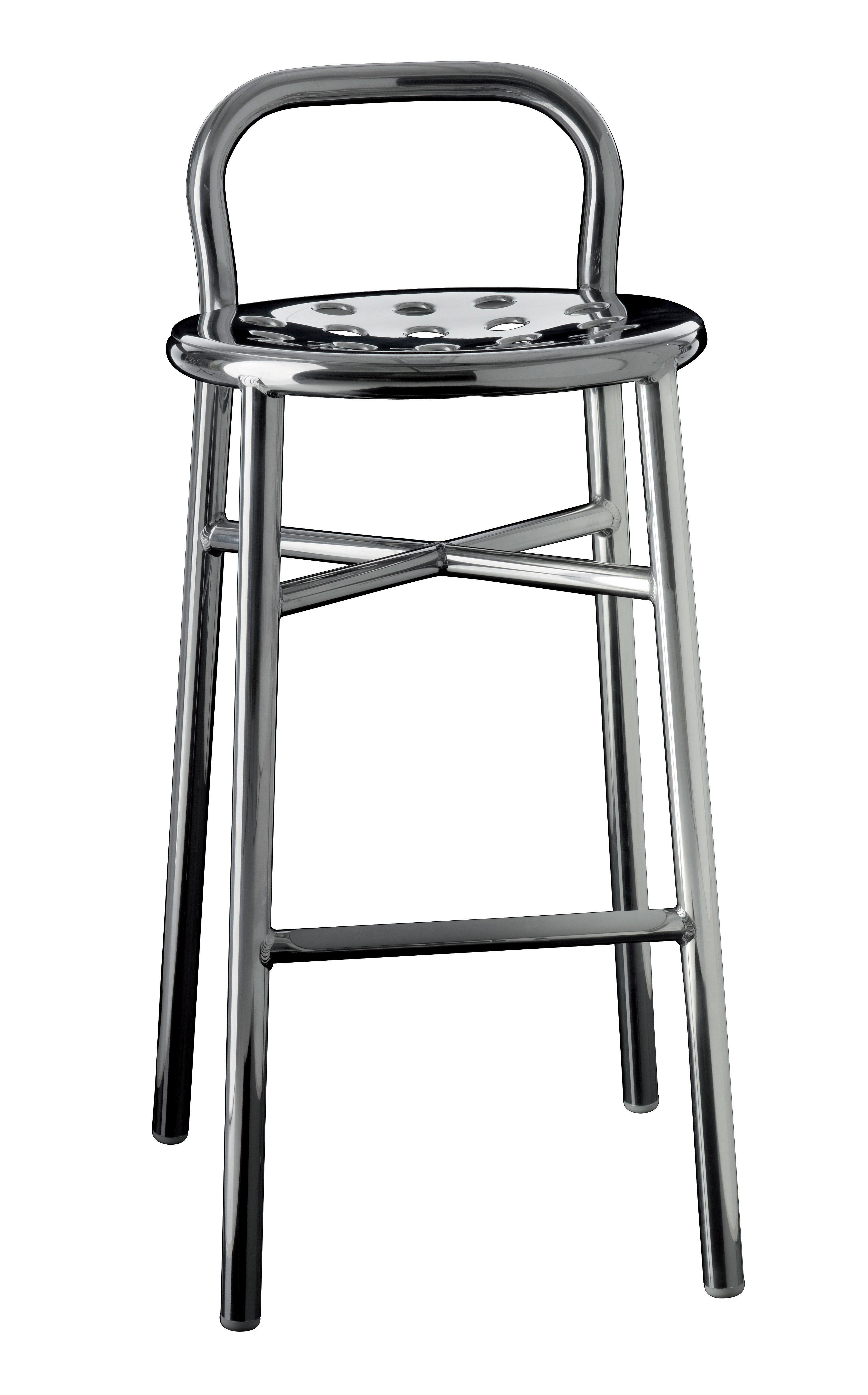 Pipe Bar stool H 77 cm Metal Polished aluminium by Magis