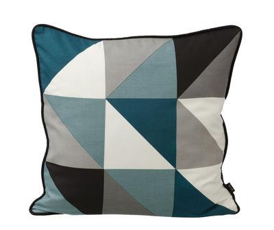 Decoration - Cushions - Remix Cushion by Ferm Living - Blue, petrol, grey, eggshell white - Black reverse - Silk