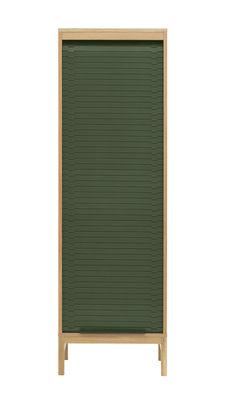 Cassettiera Jalousi Haut - / H 180 cm -  Legno & tenda plastica di Normann Copenhagen - Verde,Legno naturale - Materiale plastico