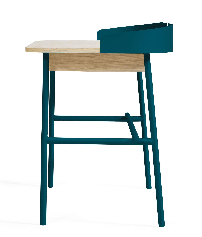 bureau victor bleu p trole bois naturel hart. Black Bedroom Furniture Sets. Home Design Ideas