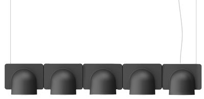 Luminaire - Suspensions - Suspension Igloo 5 LED / L 110 cm - Eclairage direct - Fontana Arte - Gris foncé - ABS laqué