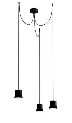 Gio Light Cluster Pendelleuchte / LED - 3 Lampenschirme - Artemide - Schwarz