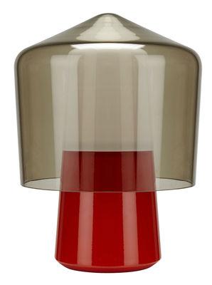 Luminaire - Lampes de table - Lampe de table Tip Top / Métal & verre soufflé - H 40 cm - La Chance - Base orange / Verre fumé - Acier laqué, Verre soufflé
