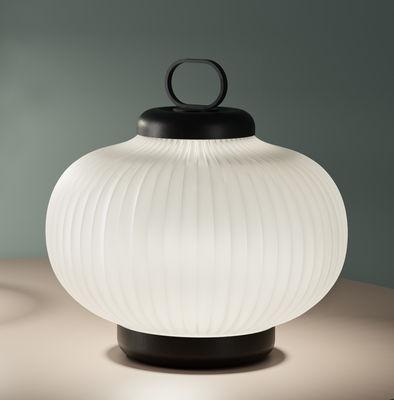 Luminaire - Lampes de table - Lampe de table Kanji LED / Verre - H 39 cm - Fontana Arte - Blanc / Structure noire - Métal laqué, Verre soufflé bouche
