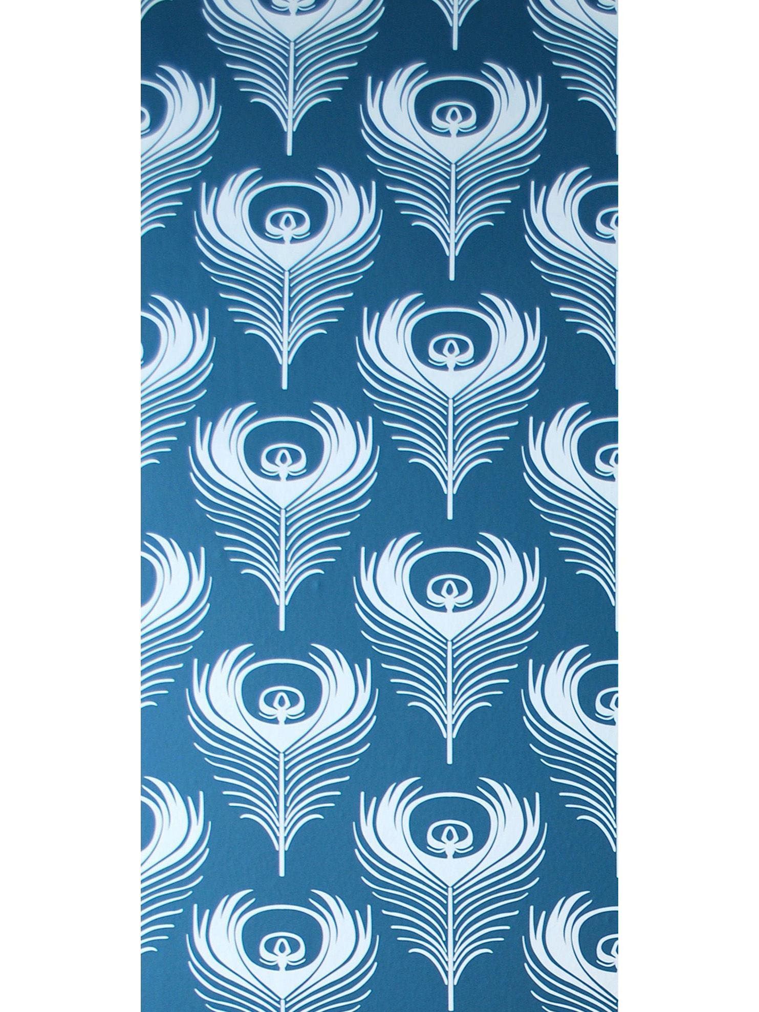 papier peint feather 1 rouleau larg 53 cm bleu p trole. Black Bedroom Furniture Sets. Home Design Ideas