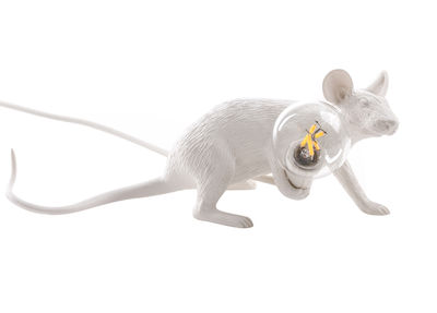 Déco - Pour les enfants - Lampe de table Mouse Lie Down #3 /  Souris allongée - Seletti - Souris allongée / Blanc - Résine