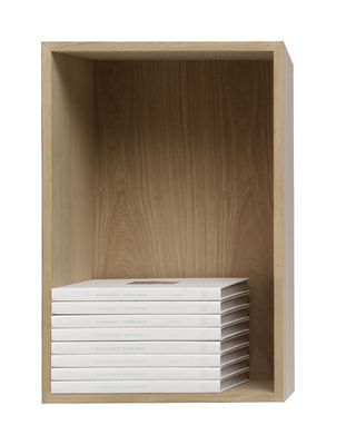 Mobilier - Etagères & bibliothèques - Etagère Stacked / Large rectangulaire 65x43 cm / Avec fond - Muuto - Frêne - MDF finition frêne