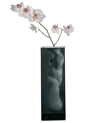 Decoration - Vases - Angelo Vase - H 60 cm by Glas Italia - Smoked glass - White - Ceramic, Tempered glass