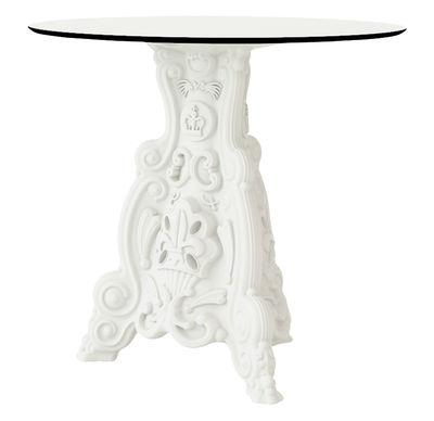 Jardin - Tables de jardin - Table de jardin Lord of Love / Ø 79 cm - Plateau stratifié - Design of Love by Slide - Blanc - Polyéthylène, Stratifié haute densité